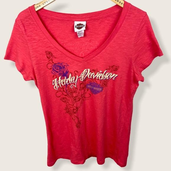 Harley Davidson Tee Pink V-Neck Short Sleeve Top